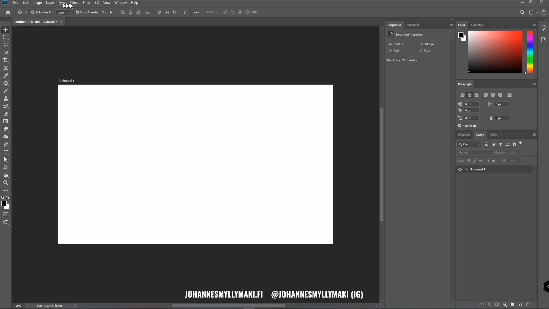 Photoshop käyttöliittymä, asetukset, työkalut