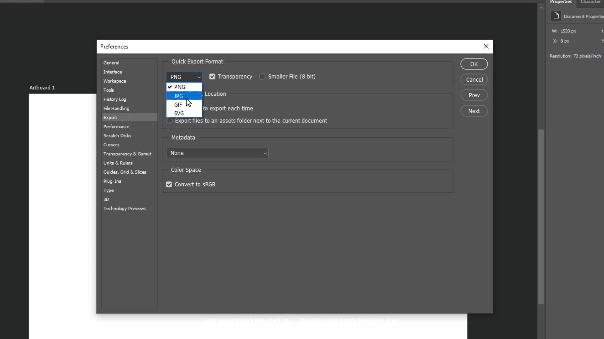 Adobe Photoshop kuvankäsittely - asetukset 1