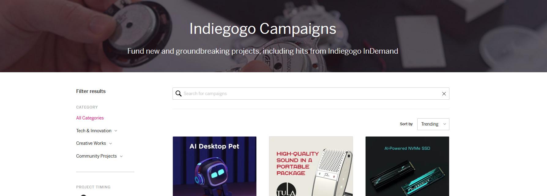 Indiegogo - tee löytöjä