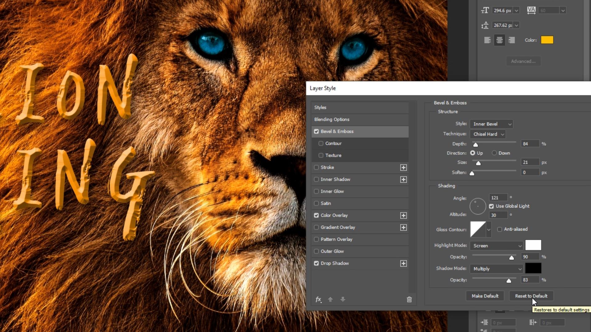 Adobe Photoshop kuvankäsittely - tason tyylit & teksti-työkalu
