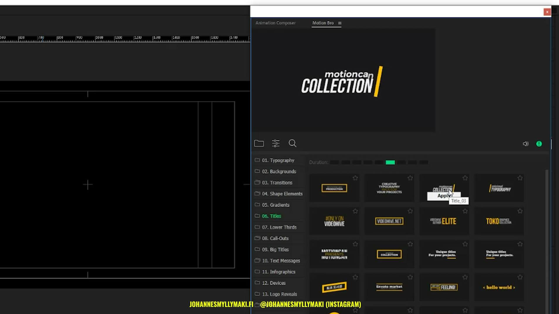 Muiden animaatioiden tekeminen - Linkitetty kompositio, Motion Bro, Animation Composer