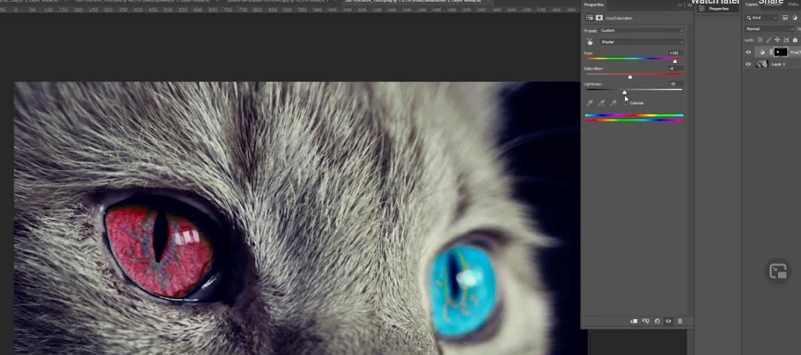 Photoshop kissan silmät