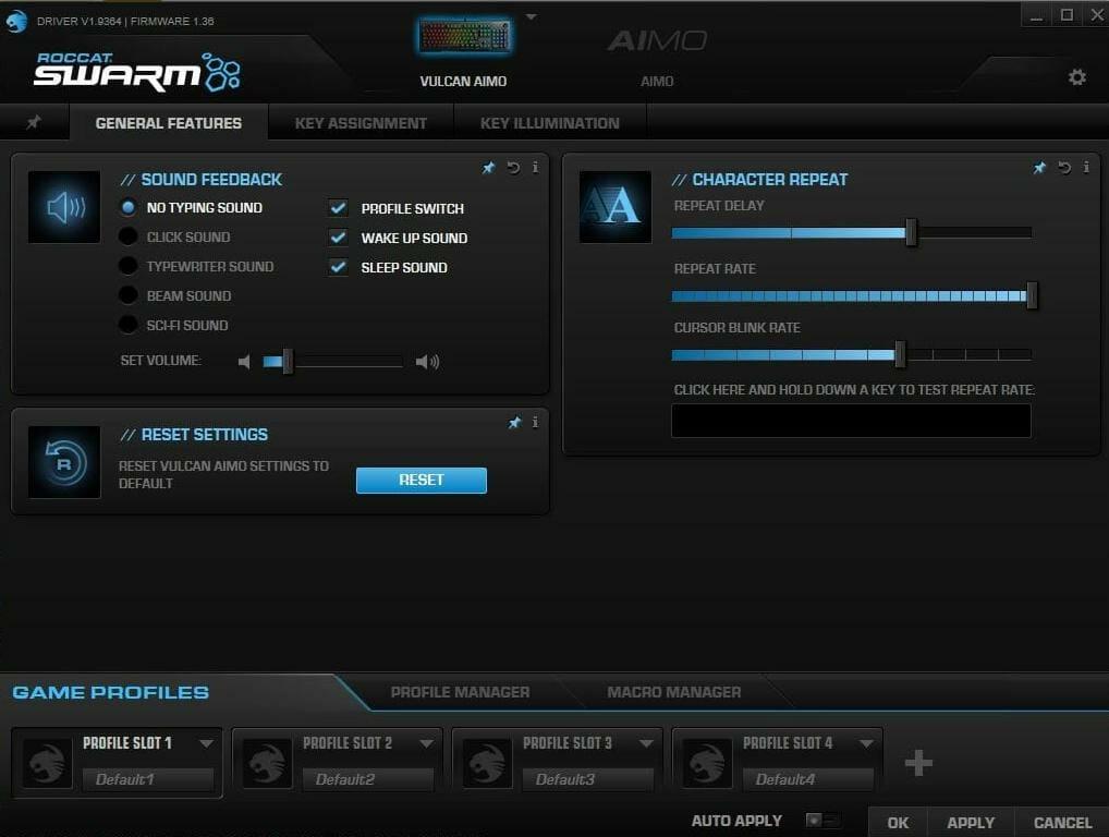 Swarm Roccat Vulcan ohjelmisto