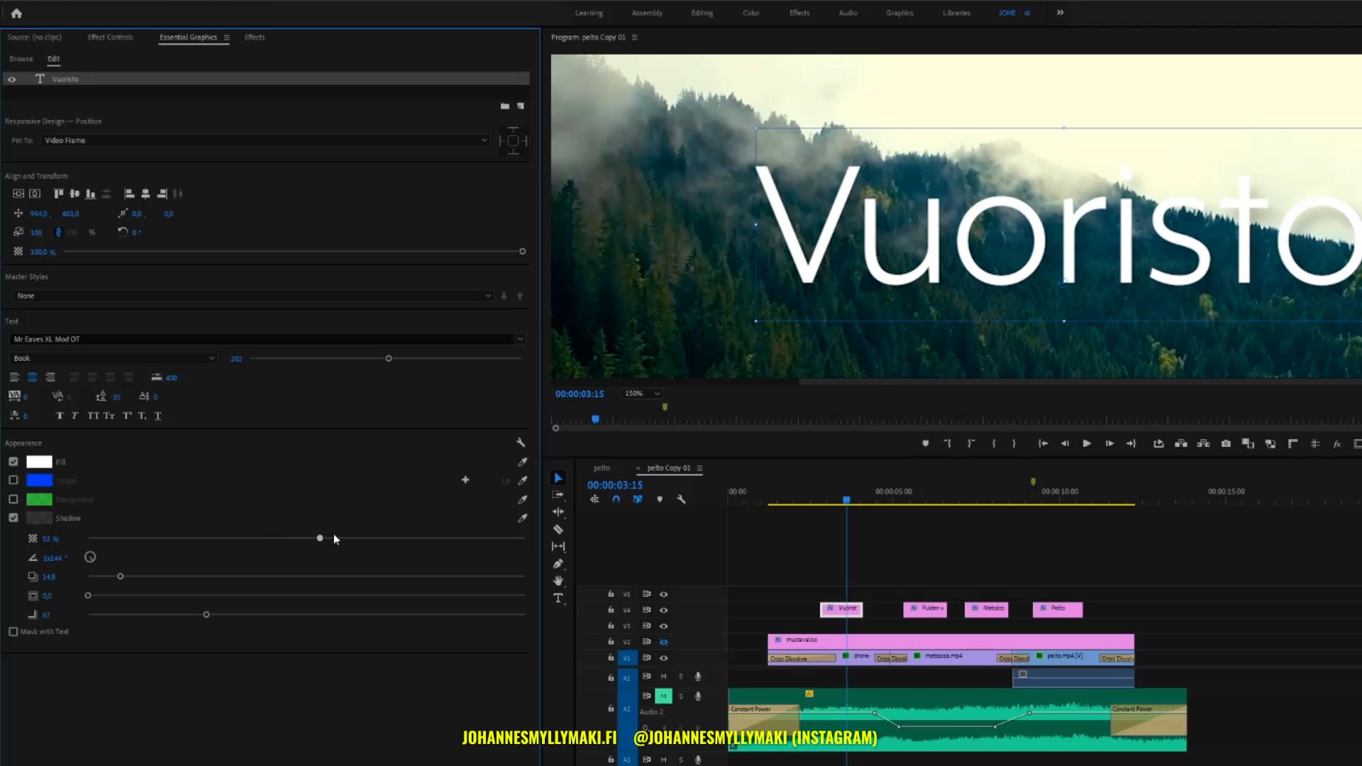 Adobe Premiere Pro tekstin varjo