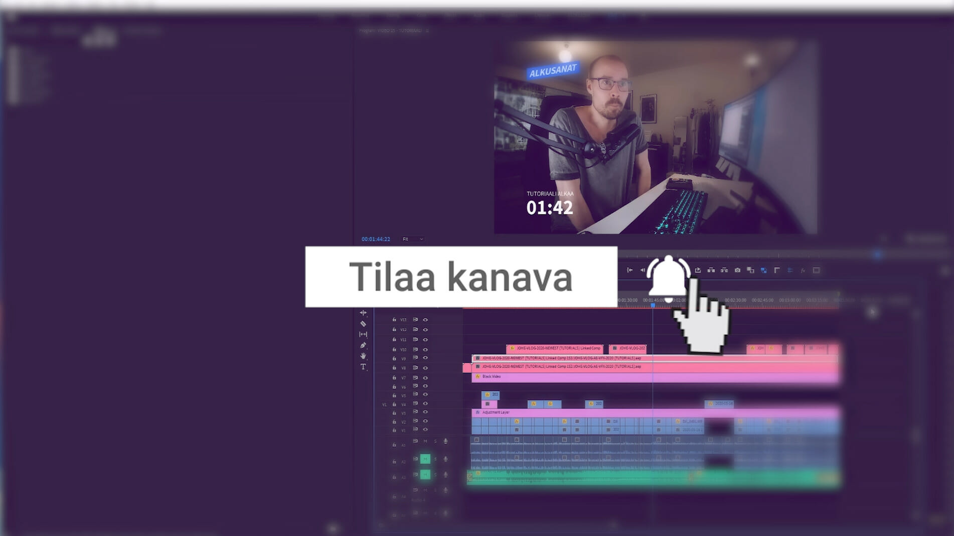 Loppusanat, linkitetty kompositio After Effects ja Premiere
