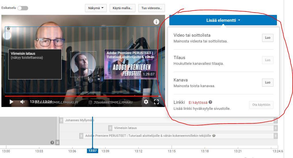 youtube-studio-videoehdotukset-valinnat
